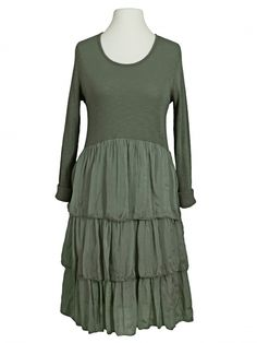 Damen Kleid Seidenvolant, khaki von Diana bei www.meinkleidchen.de