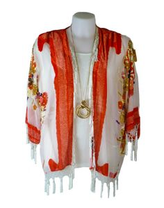 JayLey Orange and White Silk Devore Kimono- Perfect for summer evenings and holiday cover-ups!