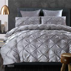 4/6pcs Luxury washed silk bedding set handwork Pinch pleat grey red pink satin duvet cover sets princess style bed linen bedclot #Affiliate