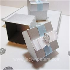 #Blue and #Silver #Cross Charm #Baptism Candy Boxes