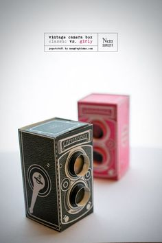 Vintage Camera Box. Click on link for free templates. http://www.nemgraphisme.com/2014/02/07/diy-vintage-camera-box/