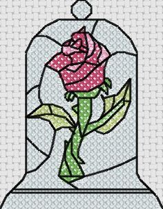 Beauty and the Beast rose cross stitch