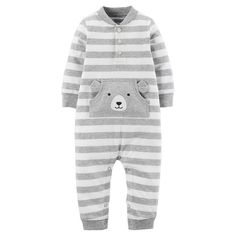 Just One YouMade by Carter's Baby Boys' Stripe Bear Jumpsuit 12M - Grey, Infant Boy's, Size: 12 Months, Gray