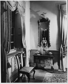 Port Royal Parlor, Winterthur Museum. From a 1951 series by photographer André Kertész for Vogue and House & Garden magazines, prior to the house being opened as a museum.