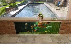 pond frame window installation pond in USA beatiful Outdoor Fish Tank, Outdoor Fish Ponds, Ponds Backyard, Modern Pond, Above Ground Pond, Raised Pond, Pond Construction, Garden Pond Design, Pond Waterfall