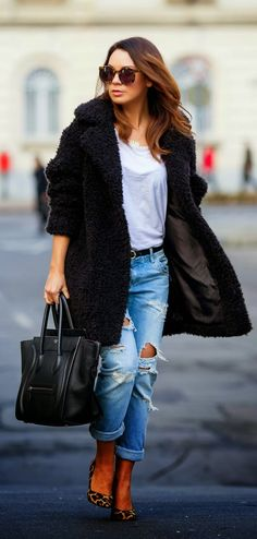 Black Faux Furry Coat +  Ripped Jeans / Best LoLus Street Fashion