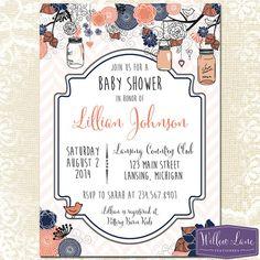Baby Shower Invitation Hanging Mason Jar by WillowLaneStationery