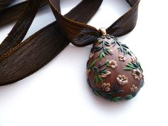 Statement Necklace  Brown Chunky Pendant by FlightyFleurs on Etsy