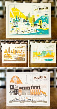 Great destimation themed invites! Cool illustration style and the limited color palette looks great.