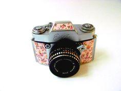 Vintage EXA Ihagee Dresden 35mm Camera, reskinned in floral print.