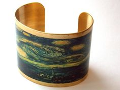 Starry Night Van Gogh cuff bracelet by TimeMachineJewelry on Etsy