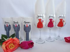 Personalized Hand Painted Bridesmaid Dress Glasses by SAM DESIGNS @ www.samdesigns.net