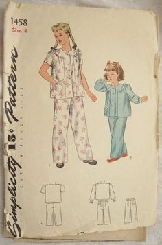 Simplicity 1458 Childrens 1940s Round Yoke Pajama Shirt and Pants Vintage Sewing Pattern Size 4