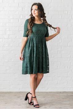 b2c301f6fc Eva Modest Dress Modest Bridesmaid Dress in Emerald Green Dark Green Lace