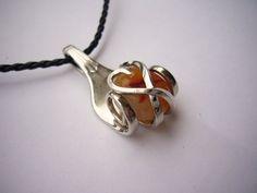 fork pendant with caramel Brazilian agate by DoItYourselfPeru