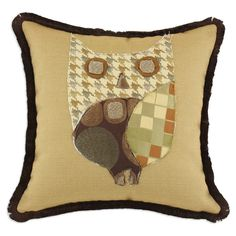 {Patchwork Owl Pillow} cute pillow; great DIY idea too - I'd use vintage fabrics to make the patchwork owl :)