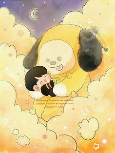 Cloud series with - Jimin and Chimmy Jimin Fanart, Kpop Fanart, Bts Chibi, Bts Bangtan Boy, Bts Jimin, Fanarts Anime, Bts Drawings, Line Friends, Bts Fans