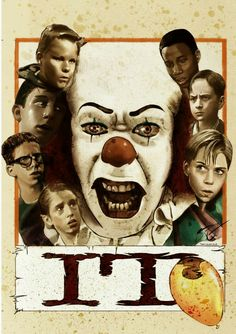 Tim Curry As 1990 Pennywise n The Loosers Club Derry Children beautiful pic Retro Horror, Vintage Horror, Horror Art, Clown Cirque, Le Clown, Horror Movie Posters, Movie Poster Art, Stephen King Movies, Stephen Kings