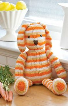 Striped Sunshine Bunny Free Knitting Pattern from Red Heart Yarns