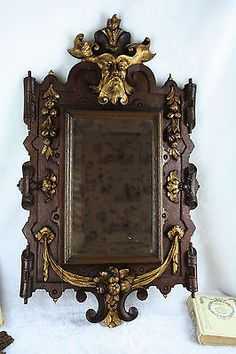 French antique 1880 wood carved gothic rare Devil head mirror fruits top piece!