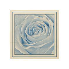 Light Blue Rose Wood Print