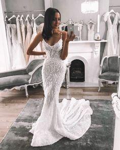 Mermaid Wedding Dresses - Gorgeous Mermaid Spaghetti Straps Open Back White Lace Wedding Dresses - # White Lace Wedding Dress, Country Wedding Dresses, Princess Wedding Dresses, Wedding Dresses Plus Size, Best Wedding Dresses, Boho Wedding Dress, Mermaid Wedding, Bridal Dresses, Wedding Gowns