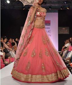 Gorgeous Lehenga by Anushree Reddy @ Lakme Fashion Week Big Fat Indian Wedding, Indian Bridal Wear, Indian Wedding Outfits, Pakistani Bridal, Bridal Outfits, Bridal Lehenga, Indian Outfits, Pink Lehenga, Wedding Lehanga