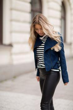 Suede biker jacket - Navy - Sanne Alexandra Shop