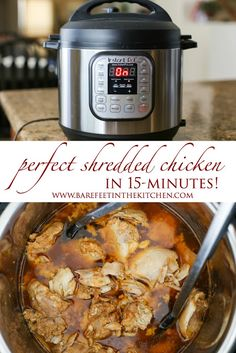 How to make perfect shredded chicken in a crock-pot, pressure cooker, or Instant Pot - recipes included at barefeetinthekitchen.com