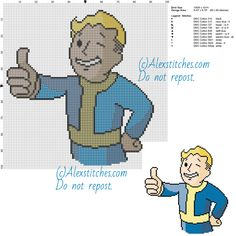 Fallout free cross stitch pattern of videogames 100x101 10 colors
