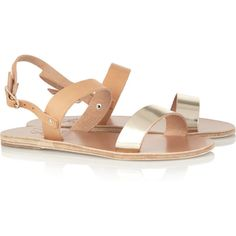Ancient Greek Sandals Clio two-tone leather sandals ($155) ❤ liked on Polyvore featuring shoes, sandals, flats, flat shoes, leather flats, leather sandals, t-strap flats and strappy sandals
