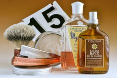 "Pre de Provence No. 63 shave soap, Omega badger brush, Ralf Aust 6/8"" straight razor, Myrsol F aftershave, L'Occitane Baux cologne, February 15, 2017.  ©Sarimento1"