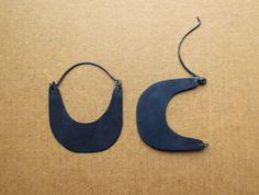 Oxidized Black Silver Saddlebag Earrings by Laminar on Etsy