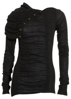 Black semi-sheer buttoned top