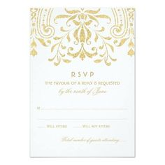 #weddinginvitation #weddinginvitations (Wedding RSVP Card | Gold Vintage Glamour) #Deco #Design #Elegant #Filigree #Glam #Glamour #Reply #Response #Rsvp #Style #Vintage #Wedding is available on Custom Unique Wedding Invitations store http://ift.tt/2agD34H