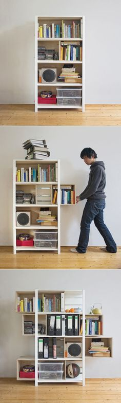 Parts Of This Bookshelf Slide Out Like Drawers - This Would Be So Handy For Extra Storage Space.