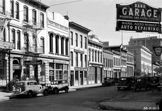 This photo from April 1934 shows buildings (first built c.1851) on the 700 block of Montgomery Street in San Francisco's old  Barbary Coast District (bound by Broadway, Sansome, Washington and Columbus Streets)  [via National Register of Historic Places in San Francisco]
