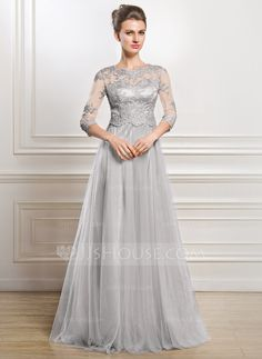 A-Line/Princess Scoop Neck Floor-Length Tulle Mother of the Bride Dress With Lace Beading Sequins (008056835) - JJsHouse