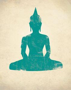 BUDDHA SEATED PRINT Buddhism Art Print Zen by theNATIONALanthem