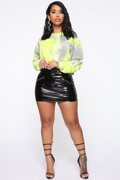 Available In Neon Lime, Black/Combo, And Rose/ComboCropSweatshirtTie Cotton Polyester ImportedDisclaimer: Due To The Specialized Dye Process Each Garment Is Unique. Big Girl Fashion, All Fashion, Fashion Beauty, Sexy Outfits, Cute Outfits, Fashion Outfits, Hot Goth Girls, American Dress, Sexy Legs And Heels