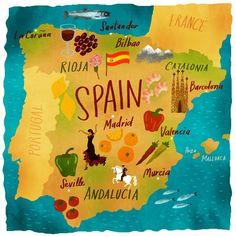 #Spain #Map #Illustrations