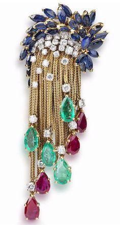 Marchak - Broche 'Franges' - Or, Diamants, Rubis, saphirs et Emeraudes - Vers 1965