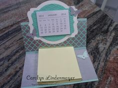 "Carolyn's Card Creations: Another ""Post It"" Calendar Easel & Matching Christmas Card - Winter Frost Post It Calendar Easel with butterflies"