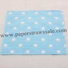 Light Blue Paper Napkins White Polka Dot  http://www.paperstrawssale.com/light-blue-paper-napkins-white-polka-dot-300pcs-p-769.html