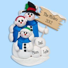 Snowman Family of 3 HANDMADE POLYMER CLAY Personalized Christmas Ornament