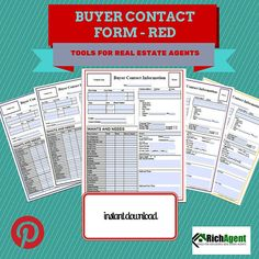 RichAgents best selling Buyer Contact Form in red. Easy to customize by adding your company logo and your photo.  Record all of the important information about your buyer clients on this two page form. Helps you maintain accurate and organized records. This red form would be great for the Keller Williams or Remax Real Estate Agent.  For other versions of this same form click on the following links:  https://www.etsy.com/listing/192566243/buyer-contact-form-purple…