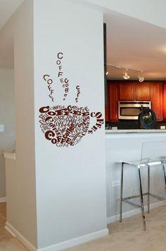 sticker mural tasse à café très original en tant que déco cuisine
