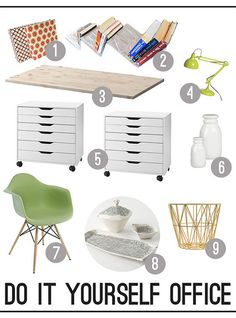 A Do It Yourself office! Skip the normal desk and make your own! Check it out here: http://www.bhg.com/blogs/better-homes-and-gardens-style-blog/2013/03/07/a-do-it-yourself-office/