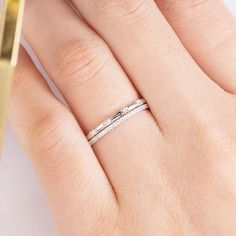 White Gold Wedding Ring Sets Diamond Stacking Matching Pave Minimalist Dainty Delicate Eternity Anniversary Gift For HER Women Weißgold Ehering Sets Diamond Stacking Matching Pave Wedding Rings Sets Gold, Bridal Rings, Wedding Band, Wedding Jewelry, Wedding White, Unique Rings, Beautiful Rings, Simple Rings, Minimalist Wedding Rings