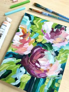 How to Paint Modern Abstract Flowers: Acrylic Painting for Beginners — Elle Byers Art Flower Canvas, Flower Art, Abstract Flowers, Painting Flowers, Acrylic Painting For Beginners, Contemporary Abstract Art, Contemporary Artists, Painting & Drawing, Abstract Acrylic Paintings